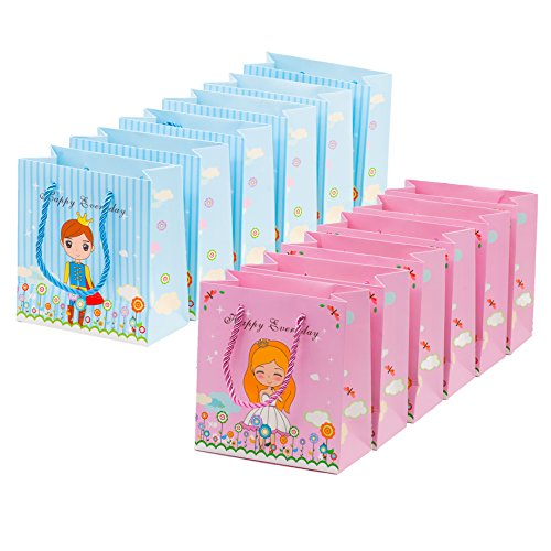 12 Pc Sweet Prince and Princess Gift Bags Party Favor Bags Goodie Bags ()