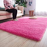 Noahas Super Soft Modern Shag Area Rugs Fluffy Living Room Carpet Comfy Bedroom Home Decorate Floor Kids Playing Mat 4 Feet by 5.3 Feet,Hot Pink