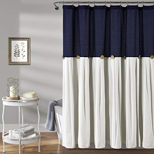 Lush Decor, Navy & White Linen Button Shower Curtain, 72