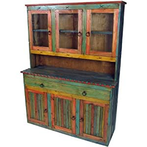 Amazon.com: Mexican Painted Wood China Cabinet with Glass