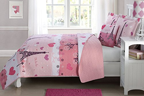 Elegant Home Multicolors Pink White Paris Eiffel Tower Bonjour Design Fun Printed Reversible Cozy Colorful 3 Piece Quilt Bedspread Set with Decorative Pillow for Kids / Girls (Twin Size)