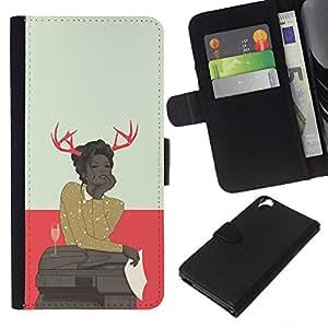 KLONGSHOP // Tirón de la caja Cartera de cuero con ranuras para tarjetas - Astado Hipster Mujer - HTC Desire 820 //