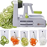 Brieftons 5-Blade Spiralizer (BR-5B-02): Strongest-and-Heaviest Duty Vegetable Spiral Slicer, Best Veggie Pasta Spaghetti