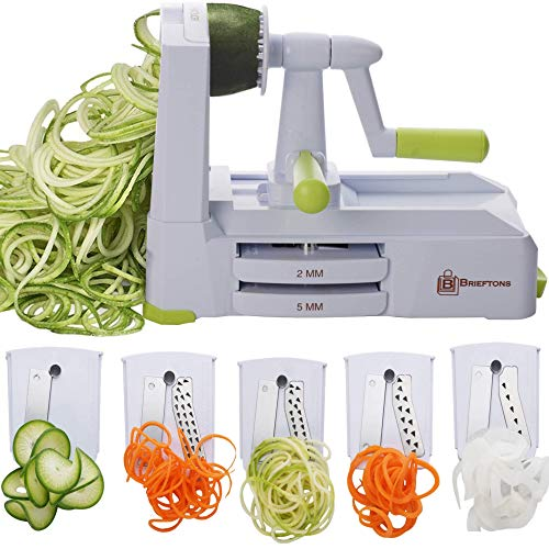 Brieftons 5-Blade Spiralizer (BR-5B-02): Strongest-and-Heaviest Duty Vegetable Spiral Slicer, Best Veggie Pasta Spaghetti Maker for Low Carb/Paleo/Gluten-Free, With Extra Blade Caddy & 4 Recipe Ebooks (Best Vegetable Pasta Maker)