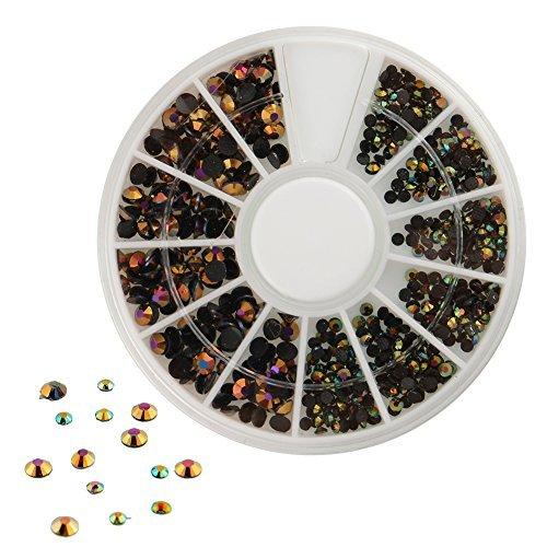 300pcs 3D Nail Art Tips Black Gems Crystal Glitter Rhineston