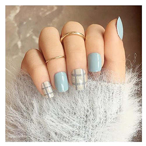 (MENILITHS 24pcs Blue and Gray False Nail with White Line Acrylic Artificial Full Fake Nails Nail Art Tips with Adhesive Tab for Women and Girls)