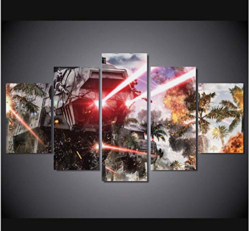 JUNEWIND Canvas Painting HD Printed Canvas Painting Wall Art 5 Pieces Star Wars Battle Car Light Poster Modular Home Decoration for Living Room -Frame