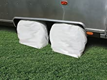 Camco 45322 Vinyl RV Wheel & Tire Protector, 1 pair (27 inches-29 inches , White)