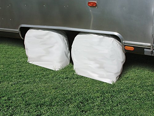 - Camco 45322 Vinyl RV Wheel & Tire Protector, 1 pair (27 inches-29 inches  , White)