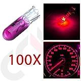 CCIYU 100 Pack Purple T5 Mini-Wedge Halogen 37 74 286 LED Interior Light Bulbs Dashboard Incandescent Light