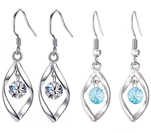 Wave Dangle (AMBESTEE Women Girls Fashion Jewelry 925 Rhinestones Sterling Silver Plated Twist Wave Dangle Earrings Set)