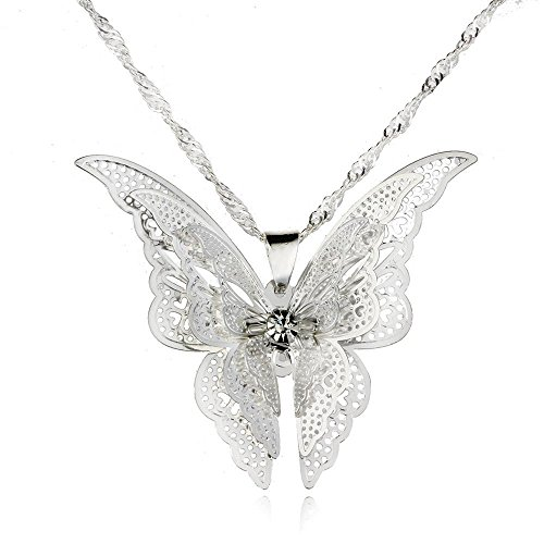 CS-DB 1 PCS 9K White Gold Plated Butterfly Pendant+Chain Women Lady Girl - Pendant Gold 9k