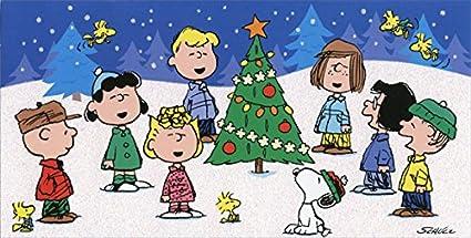 peanuts singing around tree box of 16 charlie brown christmas cards