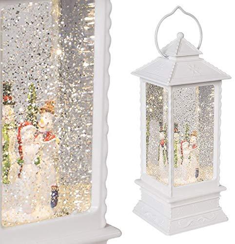 The Christmas Workshop–Pupazzo di Neve Lanterna, Bianco, Larghezza 27.5cm di Altezza x profondità 10.5cm Benross Group 89240