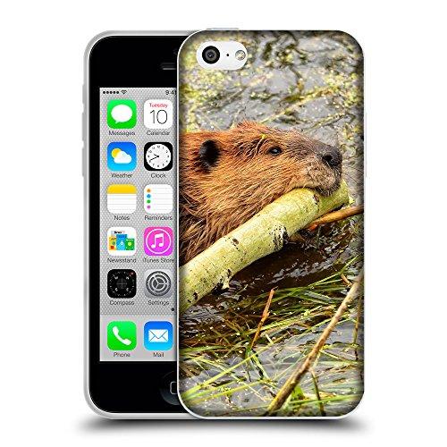 Just Phone Cases Coque de Protection TPU Silicone Case pour // V00004128 Beaver piscine avec le bâton // Apple iPhone 5C