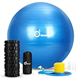Odoland 3-in-1 Foam Roller Kit with Extra Thick Yoga Ball Chair,...