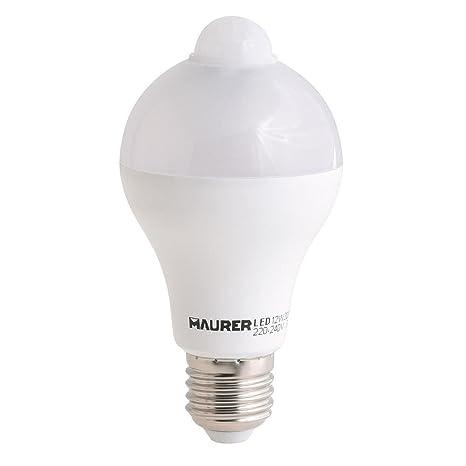 Maurer Bombilla Led con Sensor De Movimiento 12 W. E27, Blanco