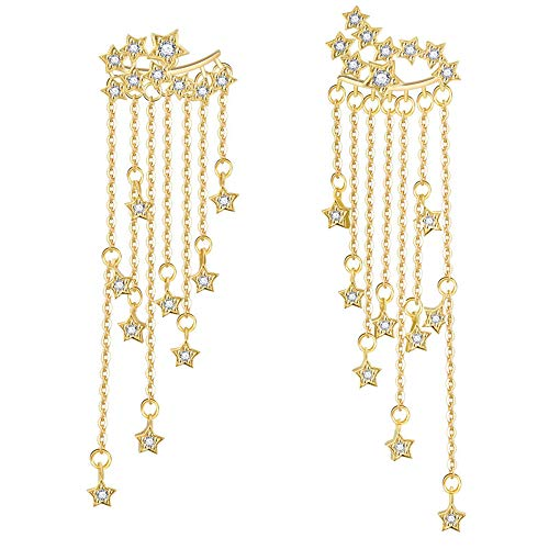 2 Pcs Gold Long Tassel Earrings for Women Girls Fashion Dangle Drop Earrings for Women Wedding Cascading Chain Statement Star Beads Crystal Back-Hanging Earrings ()