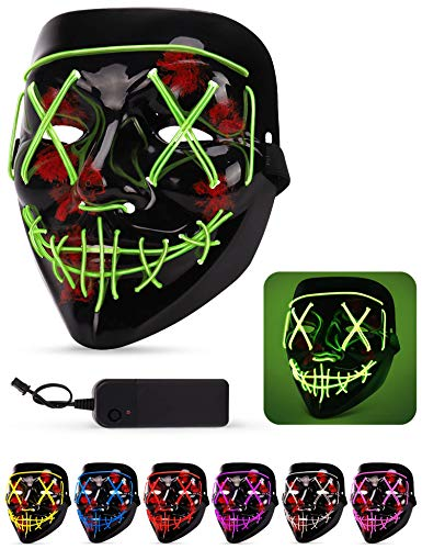Halloween Mask, Led Light Up Mask, Adjustable Scary Masquerade Glow Mask