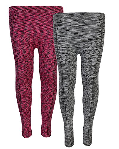 Real Love Girl\'s Athletic Fleece Lined Leggings (2 Pack) (7-16, Berry/Grey)'