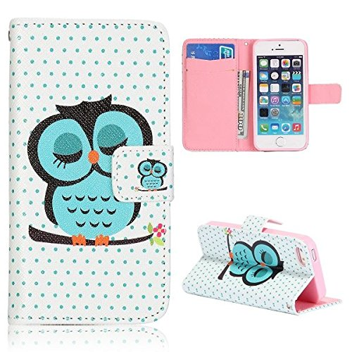 Cute Sleeping Owl Iphone 5 Wallet Case Leather - Best Iphone 5 Wallet Case for Men and Women, Made of High Quality Leather, Flip Case, Bonus Included - Iphone 5 Screen Protector Included
