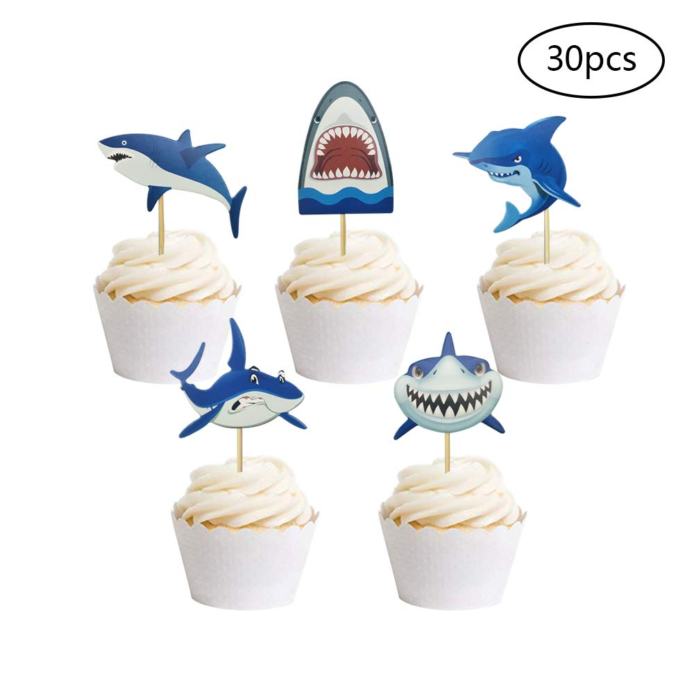 30 PCS Baby Shark Cupcake Toppers Shark Theme Party Supplies Kids Birthday Party Supplies Decorations