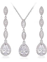 Teardrop Pear Shape CZ Necklace Pierced Earrings Women Wedding Jewelry Sets