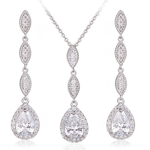 Wordless Love Teardrop Pear Shape CZ Necklace Pierced Earrings Women Wedding Jewelry Sets (Wedding Jewelry Post)