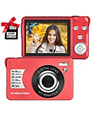 $47 » Digital Camera 2.7 Inch LCD Rechargeable HD Digital Camera Compact Camera Pocket Digital Cameras 30 Mega Pixels with 8X Zoom for Adult Seniors Students Kids with 32GB SD Card(1 Battery Included), Red