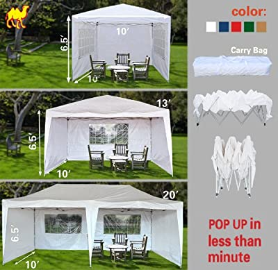 STRONG CAMEL 10'X20'EZ POP UP Wedding Party Tent PE Folding Gazebo Beach Camping Canopy 4 WALLS/Carry Bag