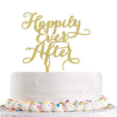 Happily Ever After Cake Topper (Happy Ever After Cake Topper for Wedding,Engagement,Bridal Shower, Vow Renewal,Anniversary Party Decoration Supplies Gold Glitter)