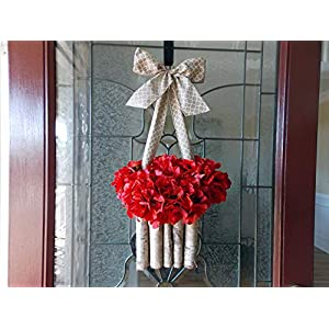 """Unique Valentine's Day Wreath Alternative with Artificial Red Hydrangeas in Real Birch Box Planter for Front Door, Porch, Spring, Springtime, Summer Summertime, Mother's Day, Handmade, 22"""" 24"""