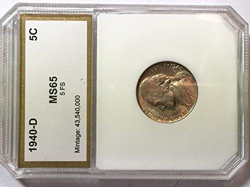 1940 Jefferson Nickel - 1940-D US Jefferson Nickel Certified MS65