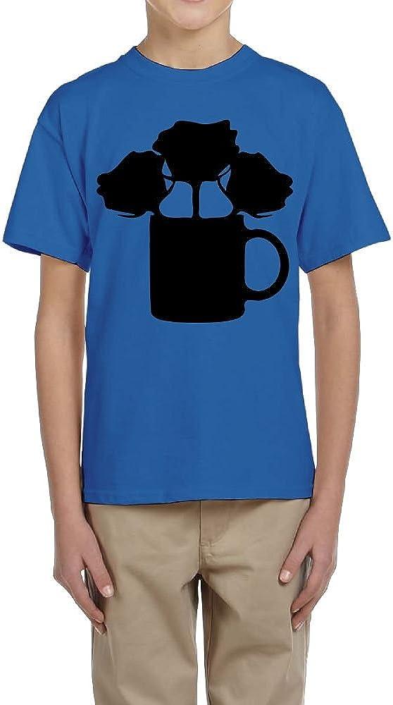 Fzjy Wnx Boys Short Sleeve Shirts Crew-Neck Black Roses Mug Cup