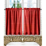 "Ellis Curtain Stacey Tailored Tier Pair Curtains, 56"" x 36"", Red"