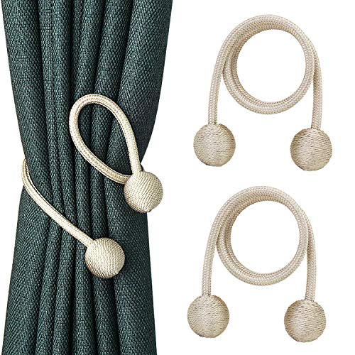 - abcGoodefg Curtain Tieback Decorative Curtain Holdbacks No Need Drilling Moderd Rope Holders Clips for Window Blackout Panels Beige Ivory 2 Pack