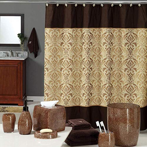 DS CURTAIN Sterling Fabric Shower Curtain,Waterproof Shower Curtain,Print Bathroom Curtain,Chocolate Shower Curtain for Bathroom,72
