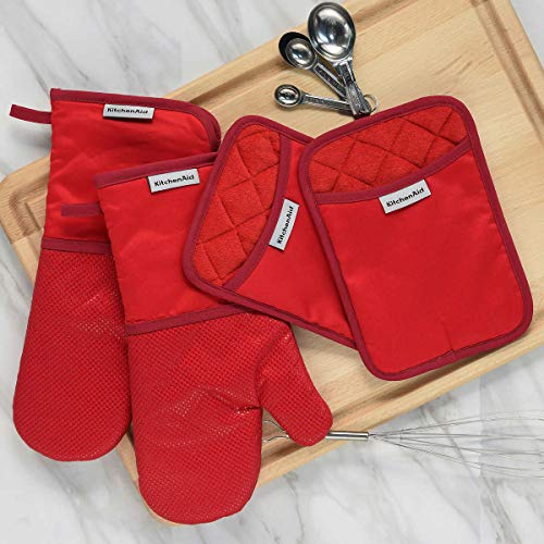 (KitchenAid 4 Piece Kitchen Set w/ Silicone 2 Oven Mitts, 2 Pot Holders (Red))