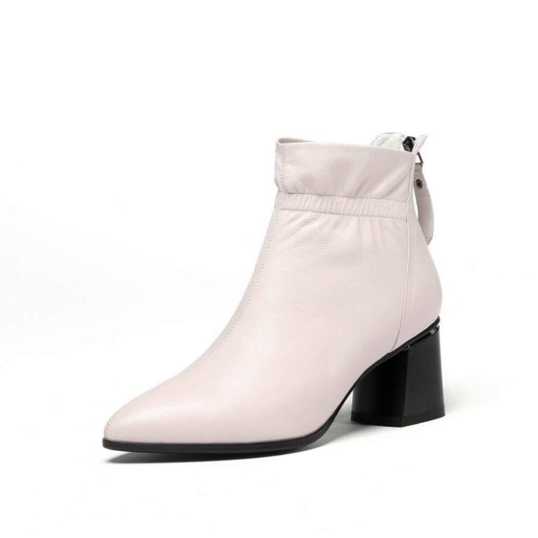 Weiß CBDGD Damen Leder Dicke High Heel Stiefeletten Mode Reiszlig;verschluss Stiefel bequemen runden Kopf Herbst Winter schwarz weiszlig;e Schuhe High Heels (Farbe   Weiß, Größe   36EU)