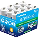 Panasonic BK-3MCCA12BA eneloop AA 2100 Cycle Ni-MH Pre-Charged Rechargeable Batteries (Pack 12)
