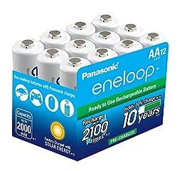 Panasonic BK-3MCCA12BA eneloop AA 2100 Cycle Ni-MH Pre-Charged Rechargeable Batteries (Pack 12)