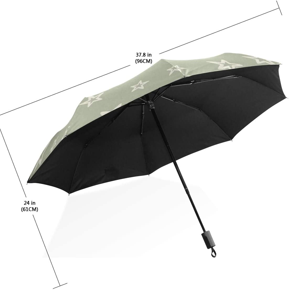 Travel Umbrella Cute Different Background With Stars Anti Uv Compact 3 Fold Art Lightweight Foldable Umbrellas outside Printing Windproof Rain Sun Protection Umbrellas For Women Girls Kids