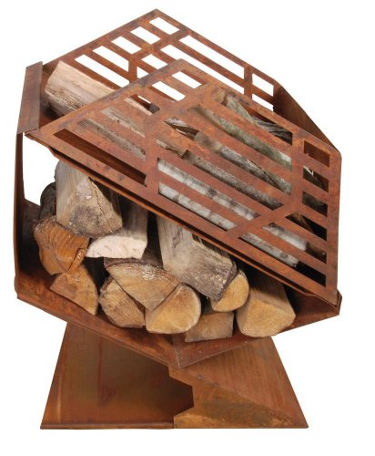 Esschert Design Fireplace with Wood Storage Unit, 24 by 13 by 26-Inch by Esschert Design