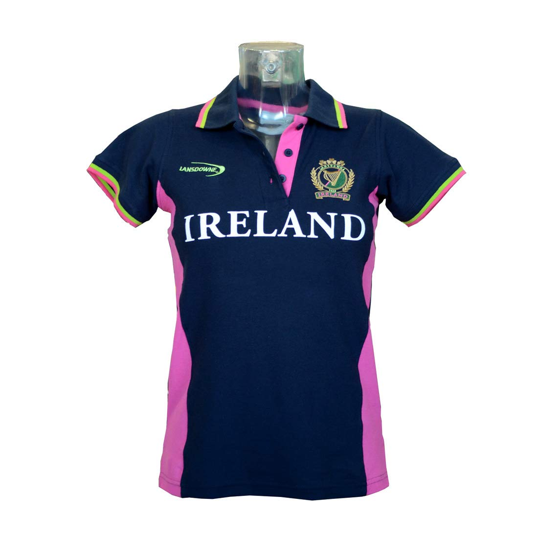 Ladies Fitted Short Sleeved Rugby Shirt with Pink & Green Stipes, Navy colour Navy Small