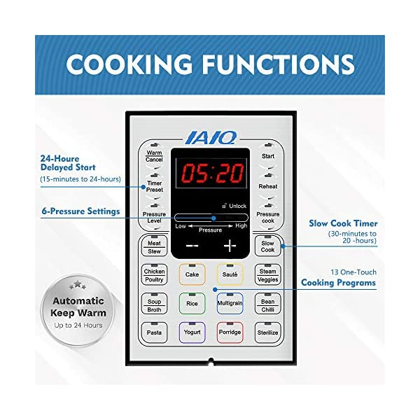 IAIQ 13-in-1 Electric Programmable 6 Quart One-Touch Pressure Cooker, Including Slow Cooker,Rice Cooker,Yogurt Maker… 3