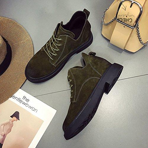 Chaussures Bloc Antidérapant Lacets Bottes Automne Vert 36 Suede Hiver Rétro Foncé Loisir Femmes Martin xwzqH0FYq