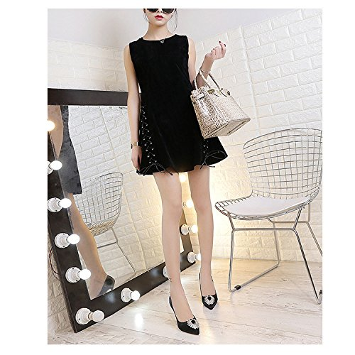Women's Rhinestone Pointed Toe High Heel Office Lady Pumps Ladies Dance Dress Party Wedding Court Shoes 8cm Black 0XRGO85A