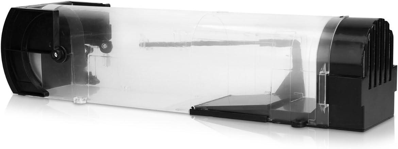 Navaris Trampa para ratón - Trampa para Ratones - Ratonera de plástico de Color Negro Transparente