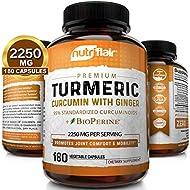 Turmeric Curcumin with Ginger & BioPerine Black Pepper Supplement 2250mg, 180 CAPSULES - Anti-Inflammatory, Antioxidant, Anti Aging - 100% Natural, Non-GMO, Vegan Best Maximum Potency, No Side Effects