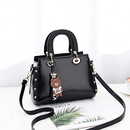 Bolso de Las Mujeres de la Moda Coreana Verano Bolso de Hombro Casual de Cuero de la PU Tendencia Messenger Bag Black